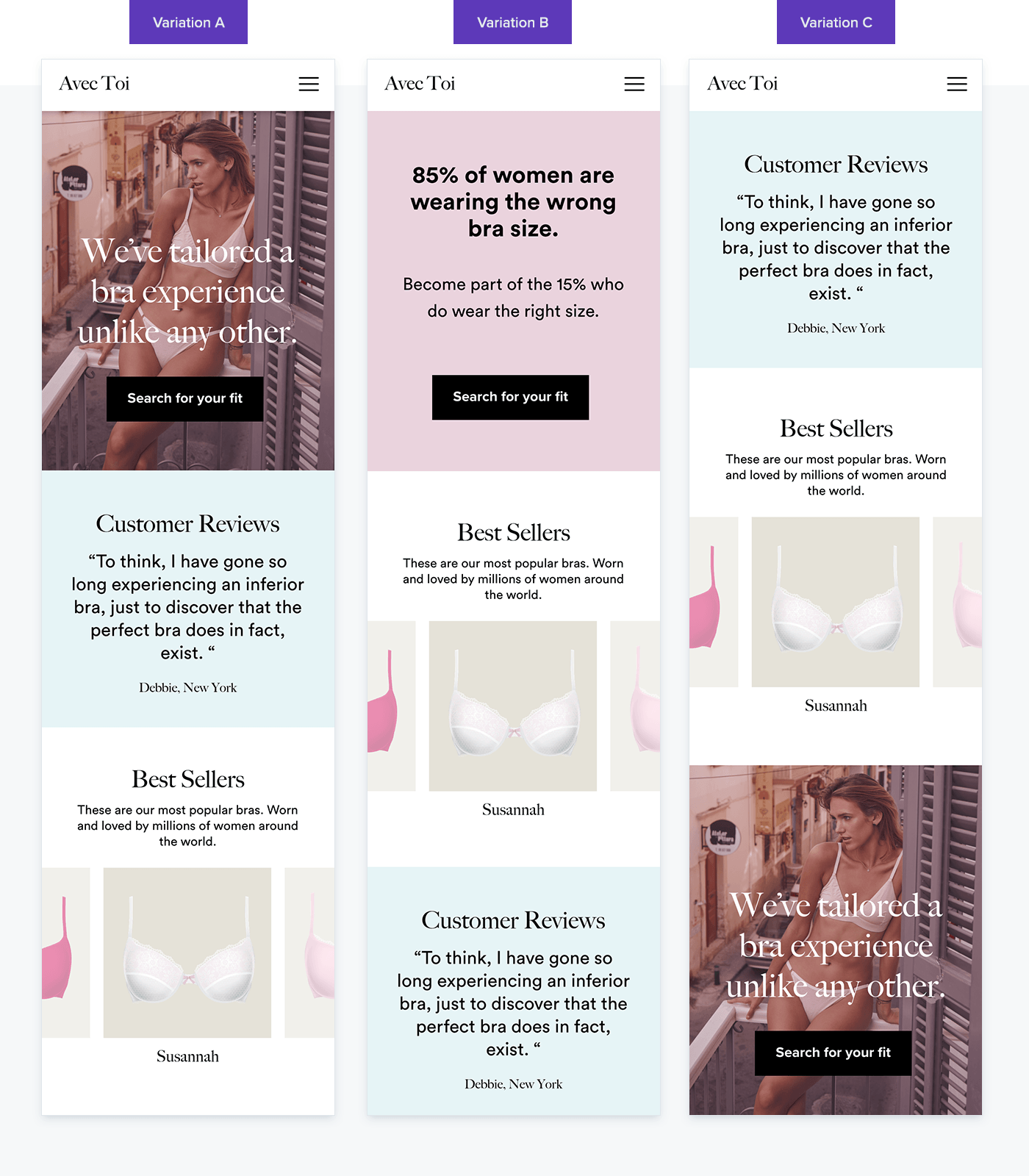 eCommerce Personalization example showing what it means to  test various layouts of homepage elements