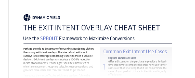 Cheat sheet exit intent overlay