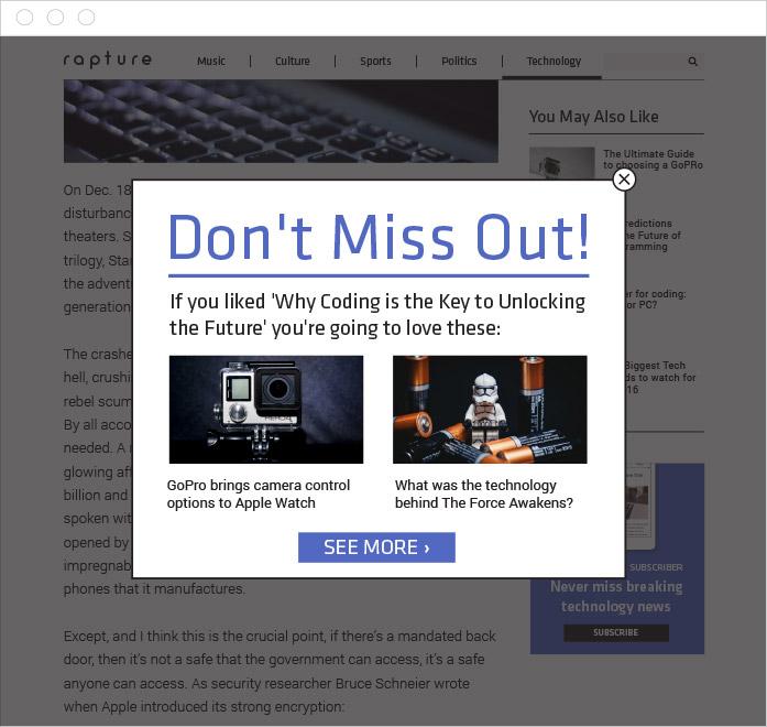 Exit intent Content Recommendations