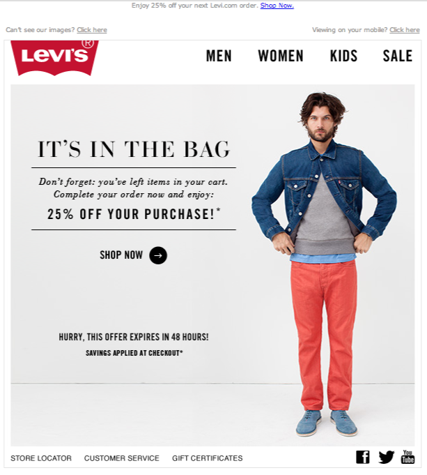 Levi's cart abandonment email