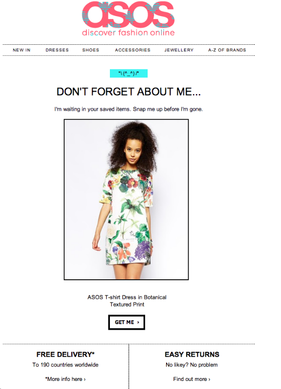 asos cart abandonment email