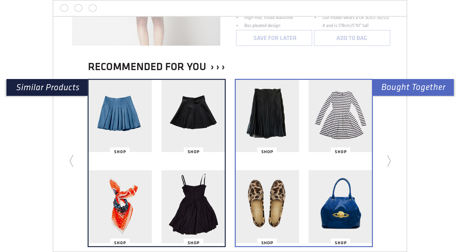 Combination of product recommendation strategies with an example of similar products and bought together recommendations on the same site page