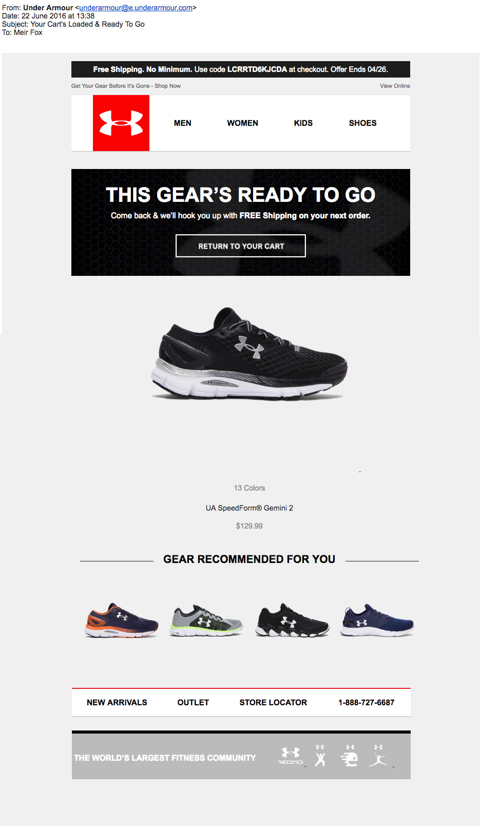 under armour cart abandonment email