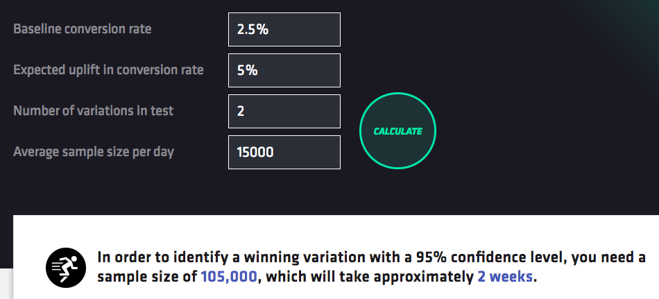 Bayesian-powered A/B test duration and sample size calculator