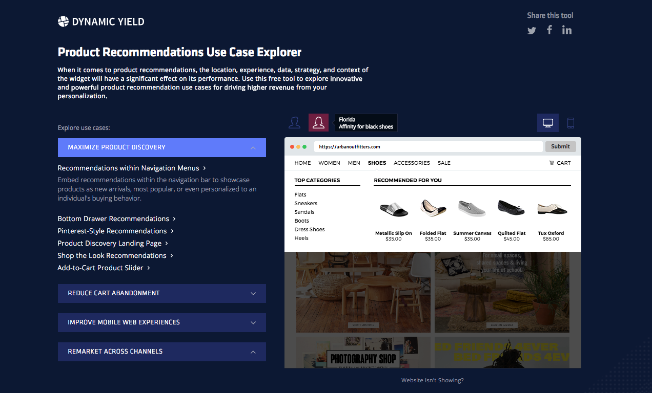 Product Recommendations Tool Nav