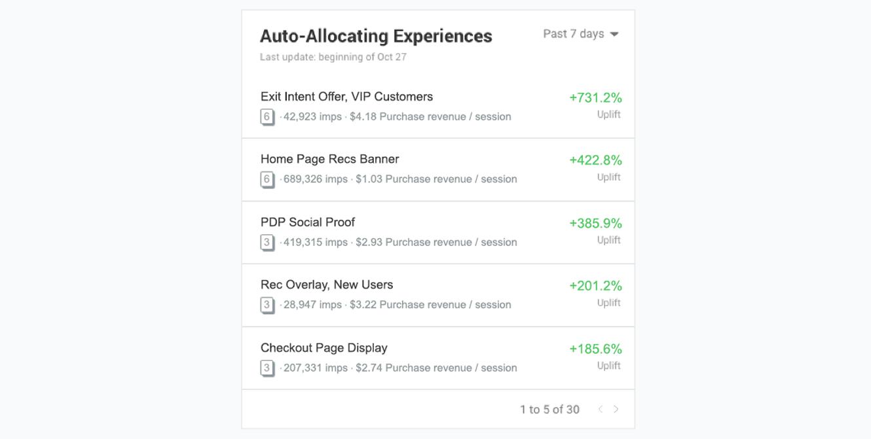 Auto-allocating Experiences