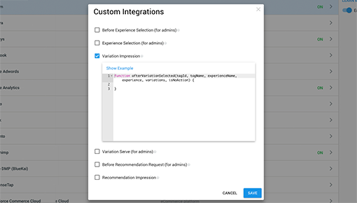 Dynamic Yield and Adobe Analytics integration screenshot 1