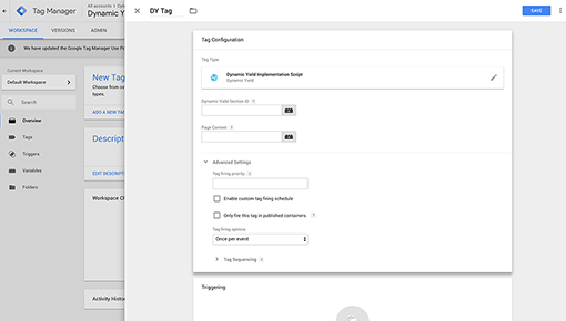 Dynamic Yield and Google Tag Manager integration screenshot