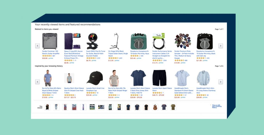 Example on how Amazon recommends items on a one-to-one basis, based on products a user has viewed in that particular session