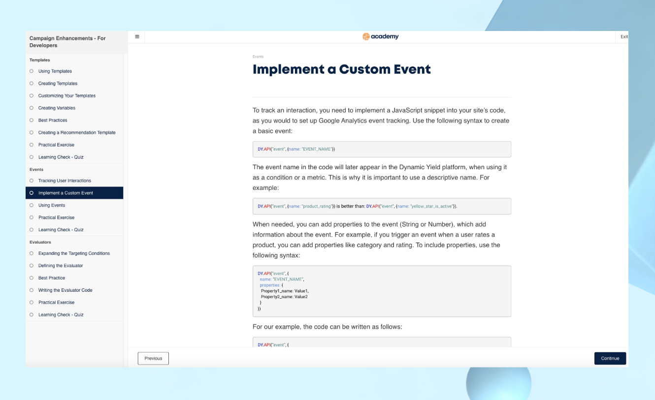 A section on implementing a custom event within the Campaign Enhancements course