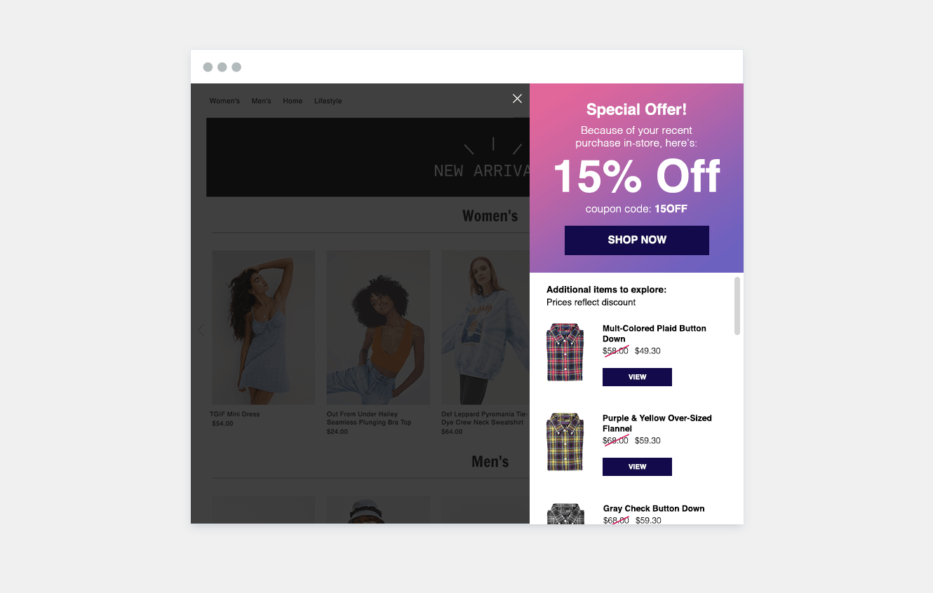 Example of how offline purchase data can be used to target shoppers