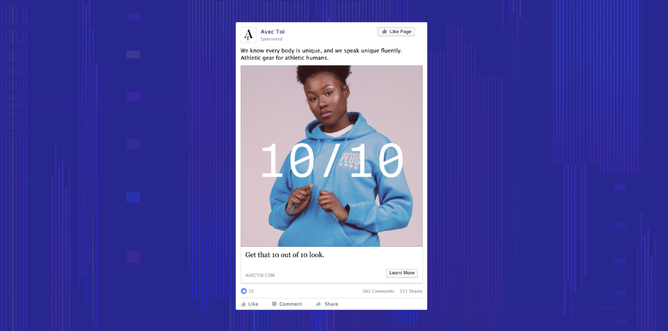 A Facebook campaign targeting lookalike audiences with Dynamic Yield data