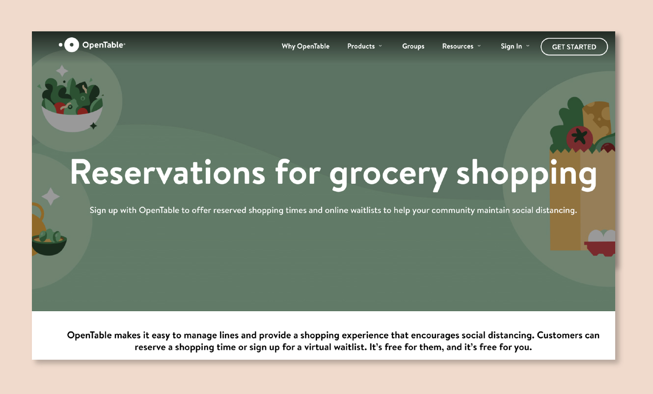 OpenTable expands to reserve grocery slots amid COVID-19