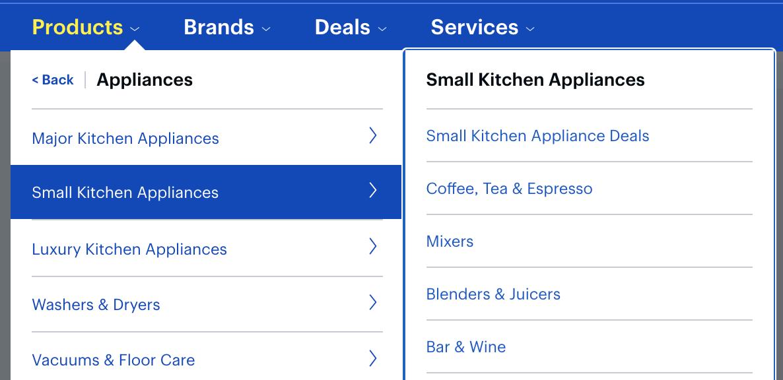 eCommerce navigation menu example