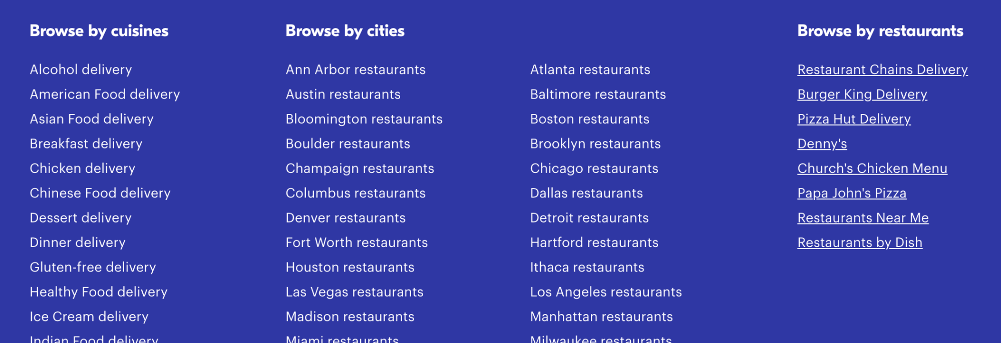 Footer menu example