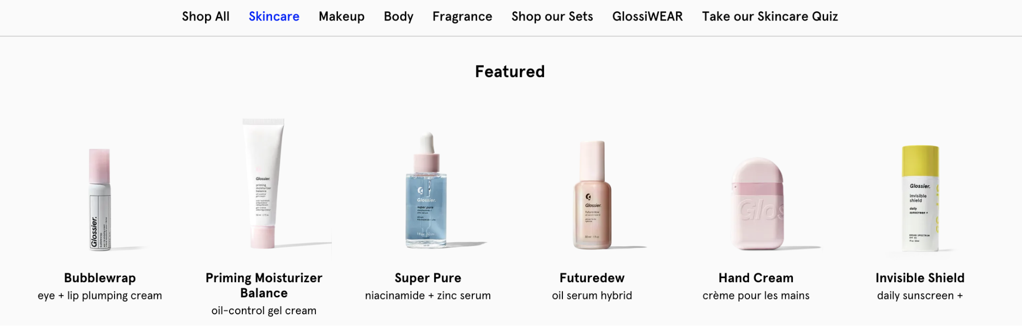 Featured product recommendations in an eCommerce navigation menu