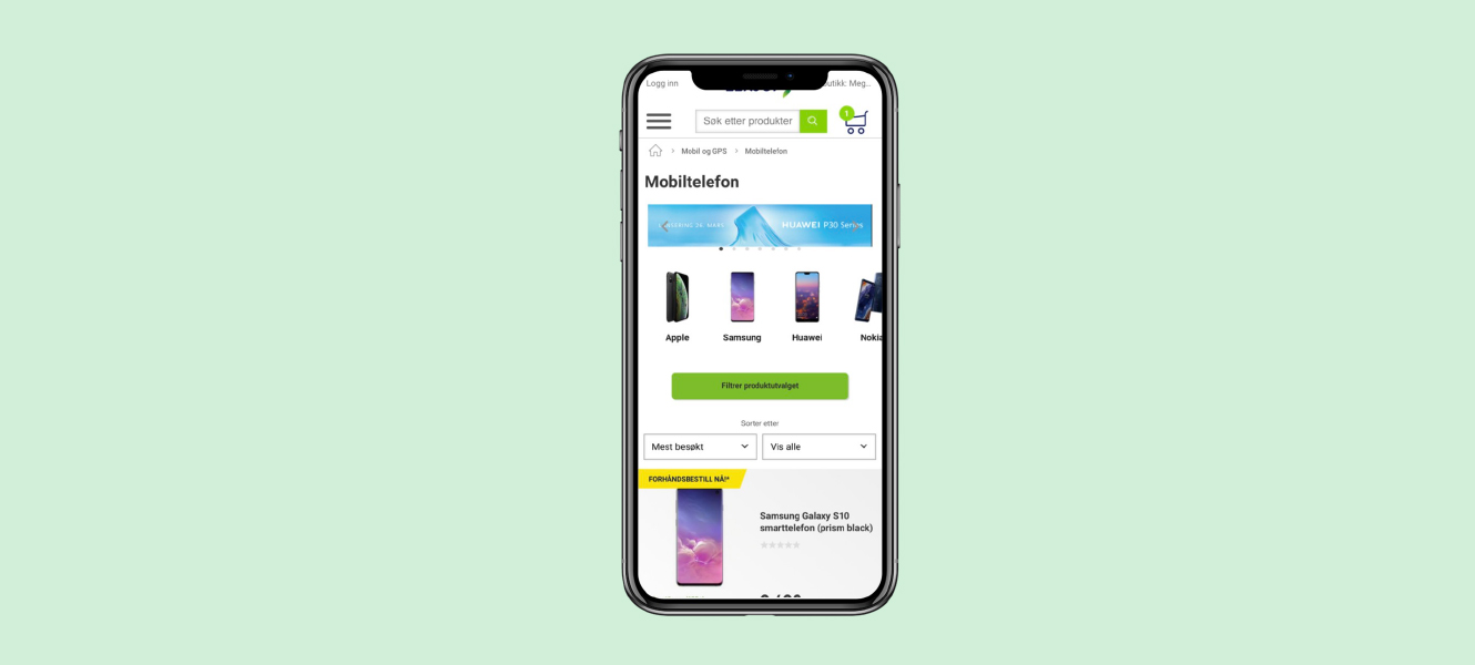 Featured product categories on Elkjop's mobile site