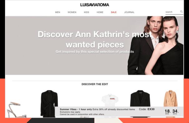 Luisaviaroma influencer landing page
