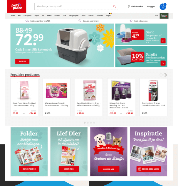 Pets Place personalized homepage