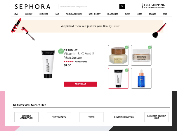 Sephora SEA personalized For You page