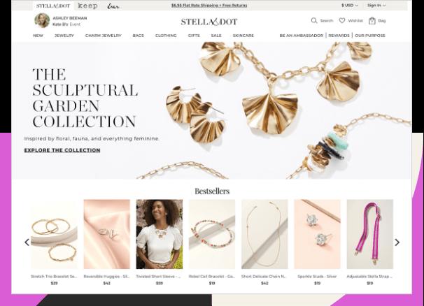 Stella & Dot personalized homepage